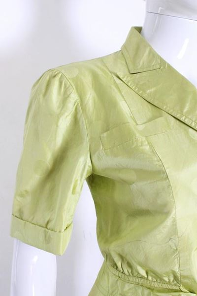 Valentino 1980s Short Sleeve Dot Damask Chartreuse Green Vintage Jacket