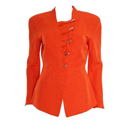 Thierry Mugler 1980s Watered Effect Silk Damask Orange Vintage Jacket