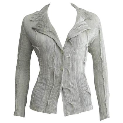 Issey Miyake Fete 1990s Pleated Button Front Silver Vintage Blouse