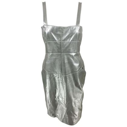 Chanel 1999 Runway Look Lambskin Leather Silver vintage Dress
