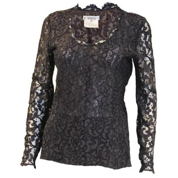 Yves Saint Laurent 1990s Lace Long Sleeved Blue Vintage Top