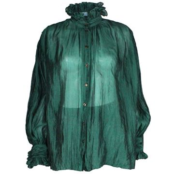 Caroline Charles 1970's Silk Ruffle Neck Emerald Green Vintage Blouse