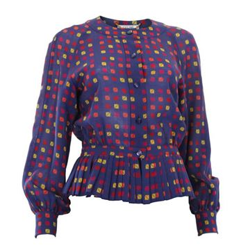 Celine 1980s Wool Pleated Peplum Purple Vintage Top