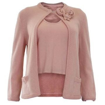 Chanel 1990s Knitted Cashmere Pale Pink Vintage Twin Set