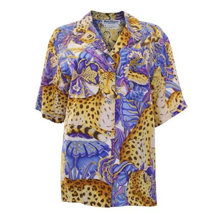 Salvatore Ferragamo 1980s Silk Jungle Print Yellow and Blue Vintage Short Sleeve Shirt
