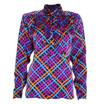 Yves Saint Laurent 1980s Diagonal Check Multicolour Vintage Pussy Bow Blouse