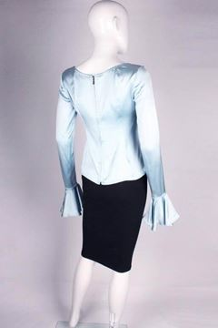 Yves Saint Laurent 1990s Silk Frill Cuff Ice Blue Vintage Top