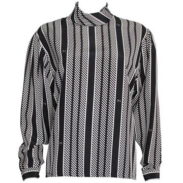 Nina Ricci 1990s Striped Monochrome Vintage Blouse