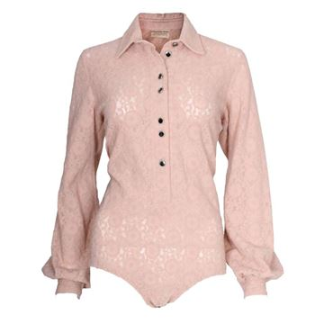 Christian Dior 1980s Lace Button Down Pale Pink Vintage Body