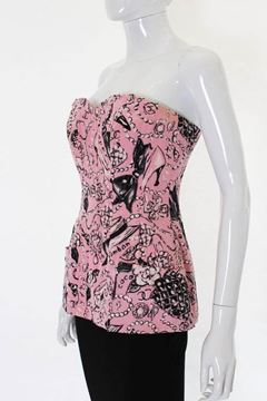 Chanel 1990s Long Silk Chanel Classic Piece Print Pale Pink Vintage Bustier