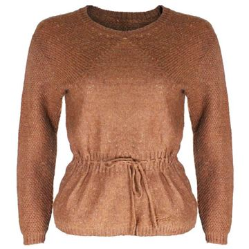 Courreges 1960s Wool Mix Drawstring Waist Tobacco Brown Vintage Jumper
