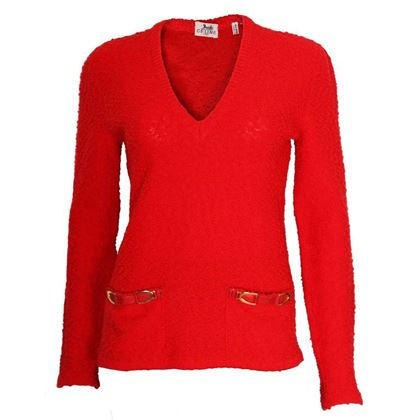 Celine 1970s Textured Knit Buckle Pocket Red Vintage Jumper