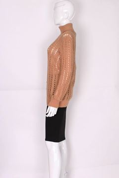 Courreges 1970s Lattice Cable Knit Biscuit Brown Vintage Poloneck Jumper