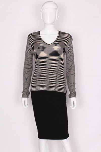 Missoni 1980s Knitted Haze Effect Black and Cream Vintage Jumper