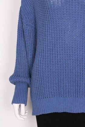 Jean Muir 1980s Ribbed Knit Cornflower Blue Vintage Jumper