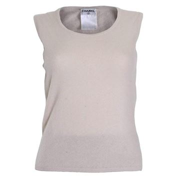 Chanel 1990s Knitted Cashmere Ivory Vintage Vest Top