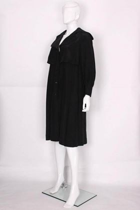 Bill Gibb 1970s Silk Black Vintage Coat