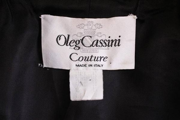 Oleg Cassini Couture 1980s Check Black and White Vintage Coat