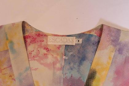 Escada 1980s Paint Splash Micro dot Print Multicolour Vintage Skirt Suit