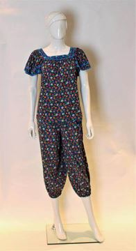 Yves Saint Laurent 1970s Floral Blue Vintage 2 Part Knickerbocker Suit