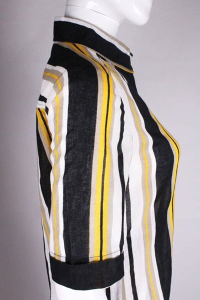 Celine 1990s Cotton Striped Black and Yellow Vintage Skirt Suit