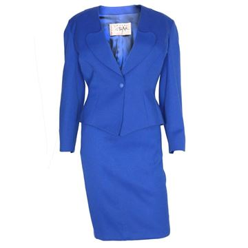 Thierry Mugler 1980s Electric Blue Vintage Skirt Suit