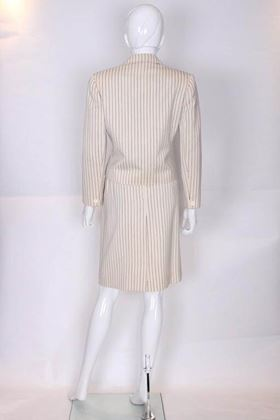 Christian Dior 1980s Pinstripe Cream and Black Vintage Skirt Suit