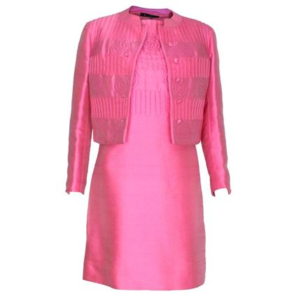 Louis Feraud for Rembrandt 1960s Pleat & Swirl Pink Vintage Dress Suit