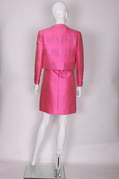 439289bddb Louis Feraud for Rembrandt 1960s Pleat   Swirl Pink Vintage Dress Suit