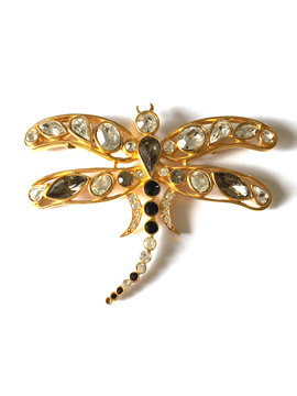 Picture of Weill Paris dragonfly motif jewelled grey & white vintage brooch