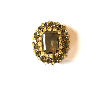 Picture of Vintage 1980s amber & gold tone paste brooch