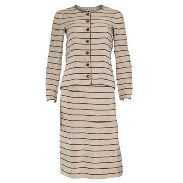 Chanel 1970s Couture Horizontal Stripe Brown & Ivory Vintage Skirt Suit