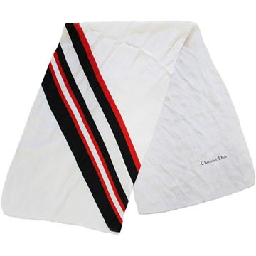 Christian Dior 1960s / 1970s Red and Black Stripe White Vintage Scarf