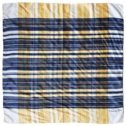 Christian Dior 1990s Mustard Yellow & Blue Check Vintage Scarf