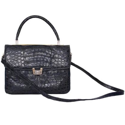 Vintage 1980s Navy Blue Crocodile Leather Satchel Bag