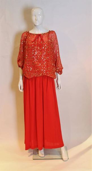 Christian Dior 1980s Sheer Sequin Top Red Vintage Evening Ensemble
