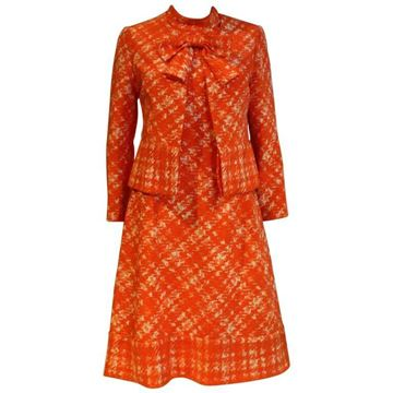 Balmain 1960s Diagonal Check Orange Vintage Dress Suit
