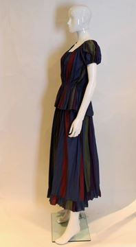 Christian Dior 1970s Cotton Striped Blue Vintage Skirt and Top Ensemble