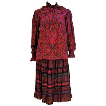 Yves Saint Laurent 1980s Paisley Purple Vintage Skirt and Blouse Ensemble