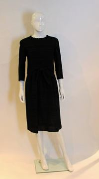 Pierre Balmain 1960s Seersucker Tie Waist Black Vintage Dress