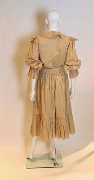 Christian Dior 1970s Peasant Style Beige Vintage Skirt and Blouse Ensemble