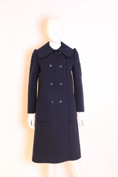 Christian Dior 1970s Wool Double Breasted Blue Vintage Coat