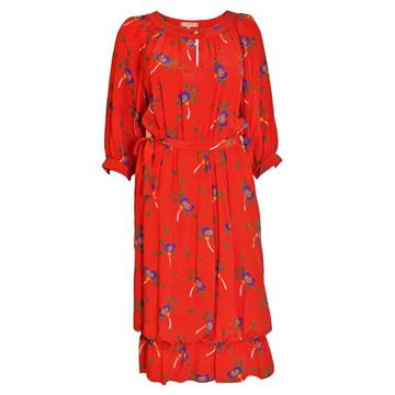 Celine 1970s Silk Floral Print Red Vintage Dress