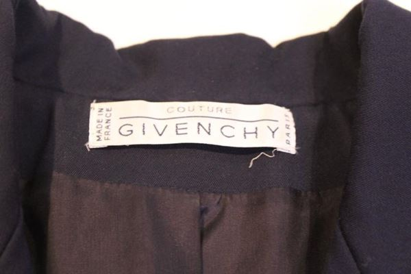 Givenchy 1970s Gold Button Navy Blue Vintage Short Legged Jumpsuit Suit