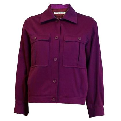 Yves Saint Laurent 1970s Cotton Bomber Style Purple Vintage Jacket