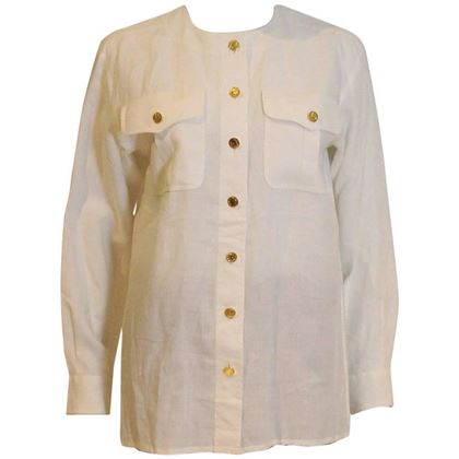 Yves Saint Laurent 1980s Linen Collarless White Vintage Shirt