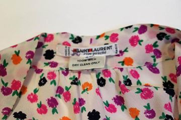 Yves Saint Laurent 1980s Silk Floral Print Pussy Bow Pink Vintage Blouse