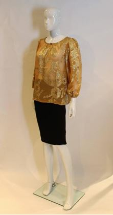 Yves Saint Laurent 1970s Sheer Silk Gold Foil Pattern Apricot Orange Vintage Top