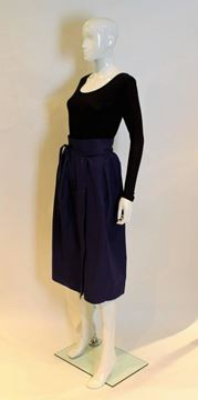 Yves Saint Laurent 1970s Wrap Style Button Front Purple Vintage Midi Skirt