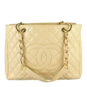 Chanel  Caviar Leather GST cream vintage tote bag